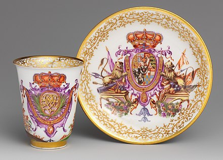 Part of a tea and chocolate service, c. 1725, given to Vittorio Amadeo II, King of Sardinia (1666-1732) by Augustus the Strong, owner of the Meissen factory Beaker MET DP223288 (cropped).jpg