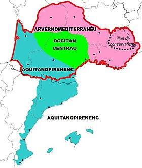 Clasificación supradialectal del occitano según PierreBec.