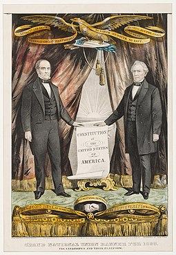 A Constitutional Union campaign poster, 1860, portraying John Bell and Edward Everett, respectively the candidates for president and vice president. Once Lincoln was inaugurated and called up the militia, Bell supported the secession of Tennessee. In 1863, Everett dedicated the new cemetery at Gettysburg. Bell Everett Campaign Poster 1860.jpg