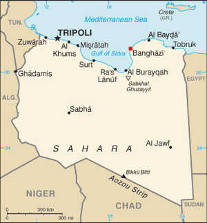 English: Location of Benghazi within Libya.