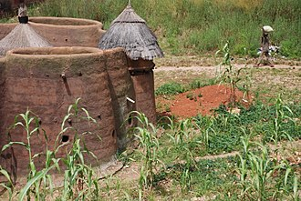 Tammari people - A Tammari house. The thatched structure in the middle of the roof (left) covers sleeping quarters, whereas the one on the right is a granary. The cylindrical structures in the walls are used for storage or for keeping small livestock.