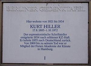 Kurt Hiller - Memorial to Kurt Hiller in Berlin