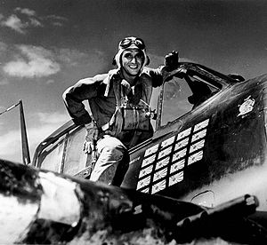 "Alexander Vraciu - Lieutenant Alexander Vraciu in his Grumman F6F Hellcat after the ""Mission Beyond Darkness"" during the Battle of the Philippine Sea (June 20, 1944)"