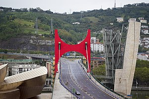 "Daniel Buren - "" L'arc Rouge "" (The red arc), Guggenheim Museum Bilbao Spain"