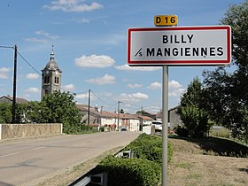 Billy-sous-Mangiennes (Meuse) city limit sign.JPG