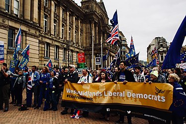 The Liberal Democrat contingent at an anti-Brexit rally in Birmingham in September 2018 Birmingham's Bin-Brexit rally for the Conservative Party conference, September 30, 2018 25.jpg