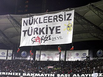 Çarşı (supporter group) - Çarşı and Greenpeace with a huge placard, standing against a possible nuclear power plant establishment in Turkey