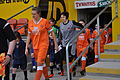 Blackpool FC Ladies Captain Alice Jackson leads out the first Blackpool FC Ladies Fixture at Bloomfield Road..jpg