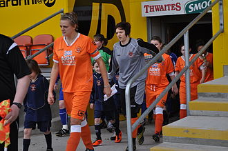 Blackpool F.C. Ladies - Alice Jackson leads out the Ladies on their debut at Bloomfield Road