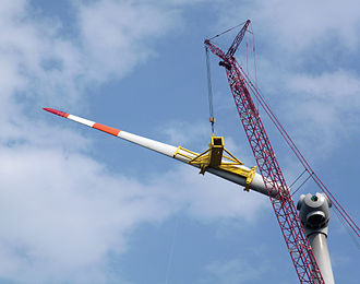 Rigging (material handling) - Image: Blade Dragon, Installing a single blade, Liftra