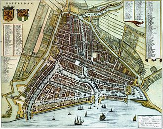 Rotterdam - Map of Rotterdam by Willem and Joan Blaeu (1652)