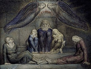 Ugolino della Gherardesca - Ugolino and his sons in their cell, as painted by William Blake circa 1826.