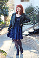 Blue Crushed Velvet Dress with Polka Dot Tights and Ankle Boots.jpg