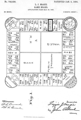 The Landlord's Game - The first patent drawing for Lizzie Magie's board game, dated January 5, 1904