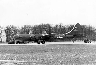 Boeing B-29 Superfortress variants - Boeing YB-29-BO (S/N 41-36957). Note the nose has an Erco ball turret with twin .50-cal. machine guns, and the fuselage package guns just below and aft of the cockpit have twin .50-cal. machine guns mounted.