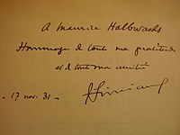 Book signed by Francois Simiand and offered to Maurice Halbwachs.JPG