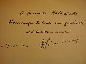 François Simiand - Book signed and offered by F. Simiand to Maurice Halbwachs (Le Salaire. L'évolution sociale et la monnaie (1932)).  Book held at the Human and Social Sciences Library Paris Descartes-CNRS.
