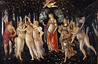 tempera panel painting by Italian artist Sandro Botticelli