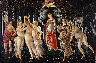 Painting. A forest scene with figures, the central representing Venus. Left, the Three Graces dance and the God Mercury drives away clouds with his staff. Right, a wind God with dark wings swoops to catch a wood nymph who is transformed into another figure, the stately Goddess Flora who scatters flowers.