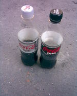 Bottles of Coca-Cola Zero and Coca-Cola Light