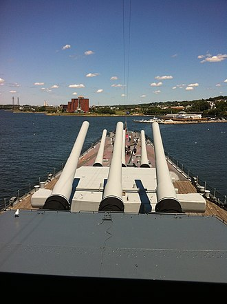 USS Massachusetts (BB-59) - View from the bridge of the bow section and forward 16in guns of the Massachusetts.