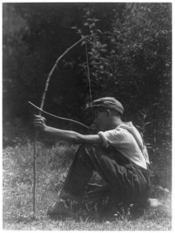 Boy with bow and arrow, photograph by Doris Ulmann - LoC 3b16179u