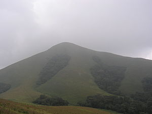 Brahmagiri (hill), Karnataka - Brahmagiri. Mountain peak covered with fog.
