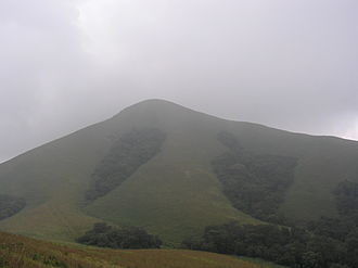 Brahmagiri (hill), Karnataka - Brahmagiri. Mountain peak covered with fog.