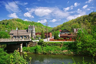 Bramwell, West Virginia - Bramwell, with the Bluestone River in the foreground