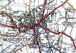 Old map showing the main roads and the river.