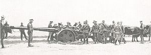 South West Africa campaign - Union Defence Force gun in the Kalahari Desert.