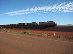 Hamersley & Robe River railway - Iron ore train leaving the Brockman 4 mine in April 2011