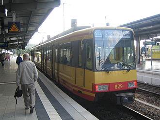 Bruchsal station - S32 of the Karlsruhe Stadtbahn in Bruchsal station