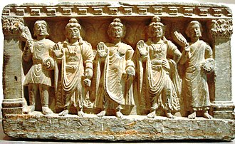 Mahayana - Mahāyāna Buddhist triad, including Bodhisattva Maitreya, the Buddha, and Bodhisattva Avalokiteśvara. 2nd–3rd century CE, Gandhāra.