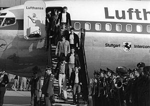 Lufthansa Flight 181 -  Stuttgart landed at Cologne Bonn Airport, on 18 October 1977, with GSG 9 team (seen) and hostages, photograph by Ludwig Wegmann