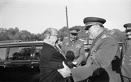 Commander-in-chief of the Warsaw Pact Ivan Yakubovsky with Walter Ulbricht in 1970 Bundesarchiv Bild 183-J1012-029-001, Ulbricht und Jakubowski, Manoverbesuch.jpg