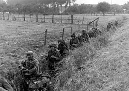 Bundesarchiv Bild 183-S73822, Arnheim, Grenadiere gehen durch Gräben vor