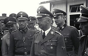 Franz Kutschera - Heinrich Himmler (front) visiting KZ Mauthhausen in April 1941, with August Eigruber (far left), Franz Ziereis (left), Karl Wolff (right) and Franz Kutschera (far right)
