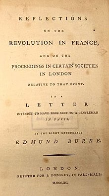 "Page reads ""Reflections on the Revolution in France, and on the Proceedings in Certain Societies in London Relative to that Event. In a Letter Intended to have been sent to a Gentleman in Paris. By the Right Honourable Edmund Burke. London: Printed for J. Dodsley, in Pall-Mall. M.DCC.XC."""