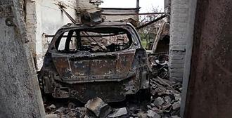 Battle of Ilovaisk - Burnt civilian car in Ilovaisk after shelling