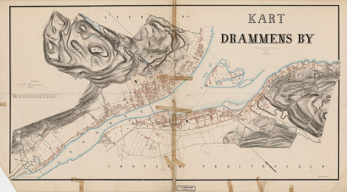 File Buskerud Amt Nr 24 Kart Over Drammens By 1870 Jpg