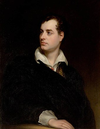 Reproduction of Portrait of Lord Byron by Thomas Phillips Byron 1813 by Phillips.jpg