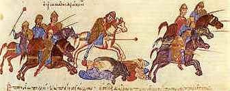 Byzantine army under the leadership of Nikephoros Uranos putting the Bulgarians to flight from the Chronicle of John Skylitzes