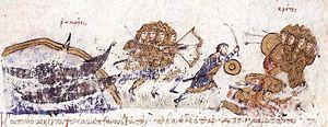Krateros (strategos of the Cibyrrhaeots) - Krateros defeats the Cretan Saracens