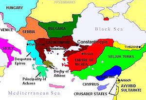 Byzantine Empire under the Angelos dynasty - Map to show the partition of the empire following the Fourth Crusade, c. 1204.