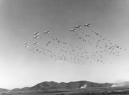 403rd TCW C-119s drop the 187th RCT over Korea, 1952. - Fairchild C-119 Flying Boxcar