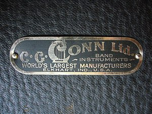 C.G. Conn - C.G. Conn Ltd. trademark on the exterior of a saxophone case dating from 1922