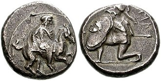 Syennesis (5th century) - Coinage of Syennesis III. Circa 425-400 BC. Satrap on horseback galloping right / 'TRZ' in Aramaic right, hoplite kneeling left, wearing crested Corinthian helmet, holding spear in right hand, large round shield decorated with gorgoneion in right.