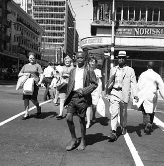 Johannesburg - Street scene in Johannesburg in 1970