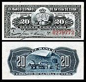 CUB-53a-El Banco Espanol de La Isla de Cuba-20-Centavoj (1897) ununura krop.jpg